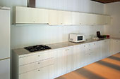 Kitchen with overhead cabinets