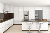 White kitchen with brown bench top